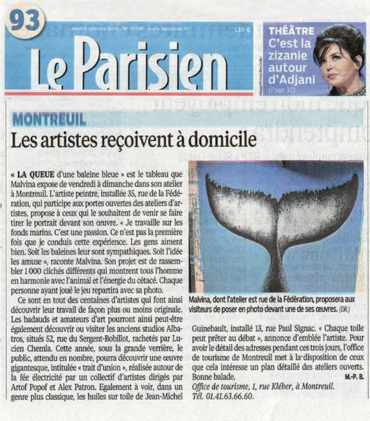"""Article dans """"Le Parisien"""" sur la queue de la Baleine en 2014"""