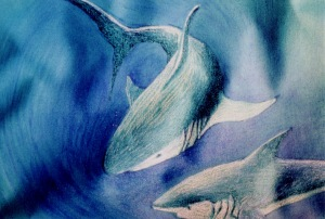 Requins, peinture en immersion par Malvina