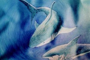 Requins, peinture en immersion par Malvina