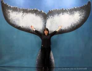 Sophie Larivet avec La Queue de la Baleine au Salon de la plongée/Paris