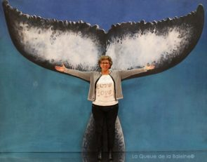 Nathalie Colin avec La Queue de la Baleine au Salon de la plongée/Paris