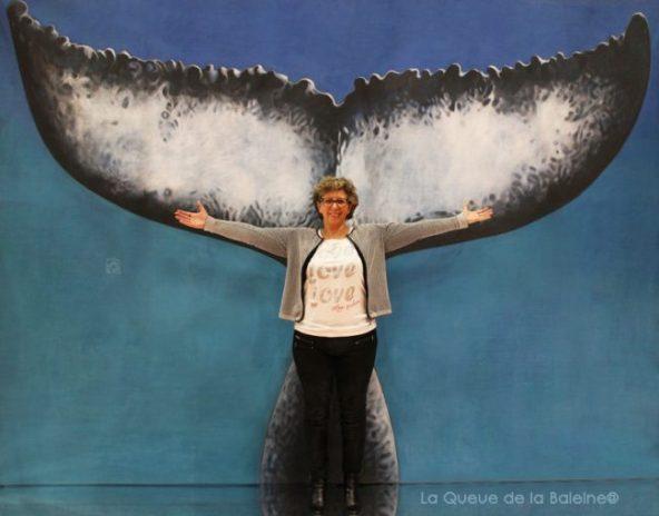 Nathalie Colin avec La Queue de la Baleine au Salon de la plongée/Paris