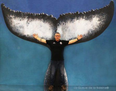 Franck Perrin avec La Queue de la Baleine au Salon de la plongée/Paris