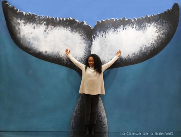 Anjara Saloma avec La Queue de la Baleine au Salon de la plongée/Paris