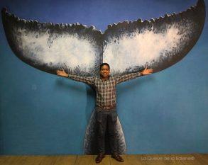 Shakill Coan à l'atelier devant La Queue de la Baleine