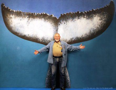 Daniel Boudot, scaphandrier à la retraite, devant La Queue de la Baleine au FMISM à Marseille
