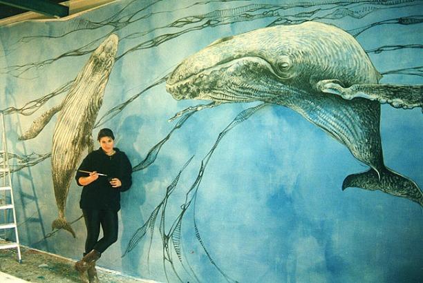 Rëve d'Amour. Peinture acrylique sur toile de 20m2 réalisée à l'atelier.