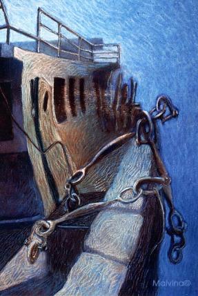 Epave de bateau peins sur le motif