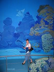 Détail de la fresque dans le pavillon tropical à Océanopolis