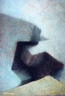 Le choc des Titans. Peinture à l'huile sur toile réalisée en immersion sur le site du Phare d'Alexandrie