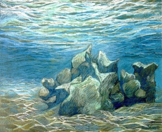 Jeu de lumière dans l'eau en Mer Rouge