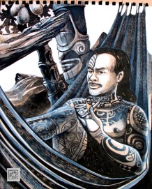 Dessin réalisé à Nuku-Hiva aux Marquises en 2004