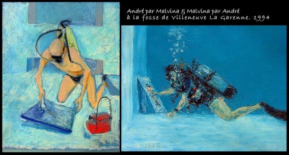 Portraits peint mutuellement dans la Fosse de Villeneuve en 1994